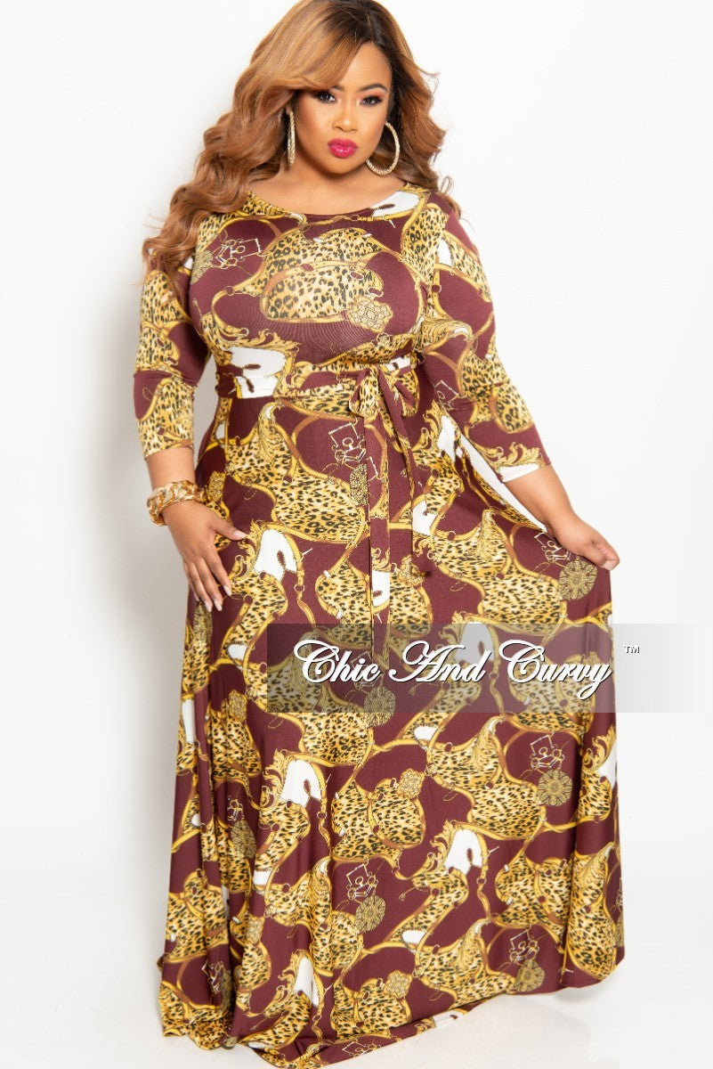 New Plus Size Animal Print Long Pocket Dress with 3/4 Sleeve and Tie in Burgundy