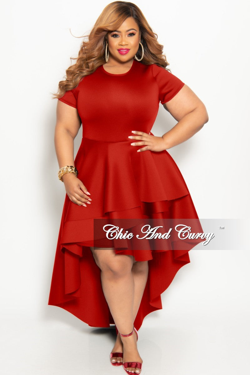 New Plus Size Short Sleeve Peplum High-Low Dress in Red