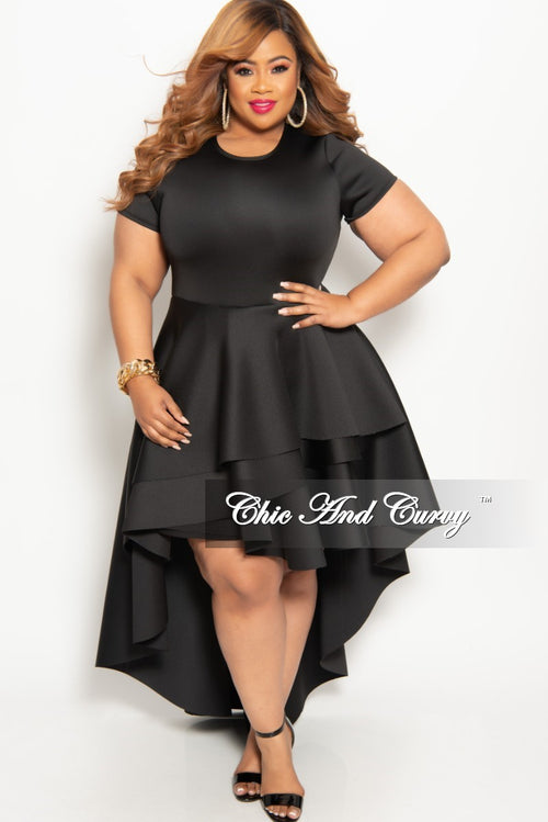 5c39fe6cc605f New Plus Size Short Sleeve Peplum High-Low Dress in Black