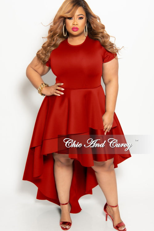 1abe54f188534 New Plus Size Short Sleeve Peplum High-Low Dress in Red