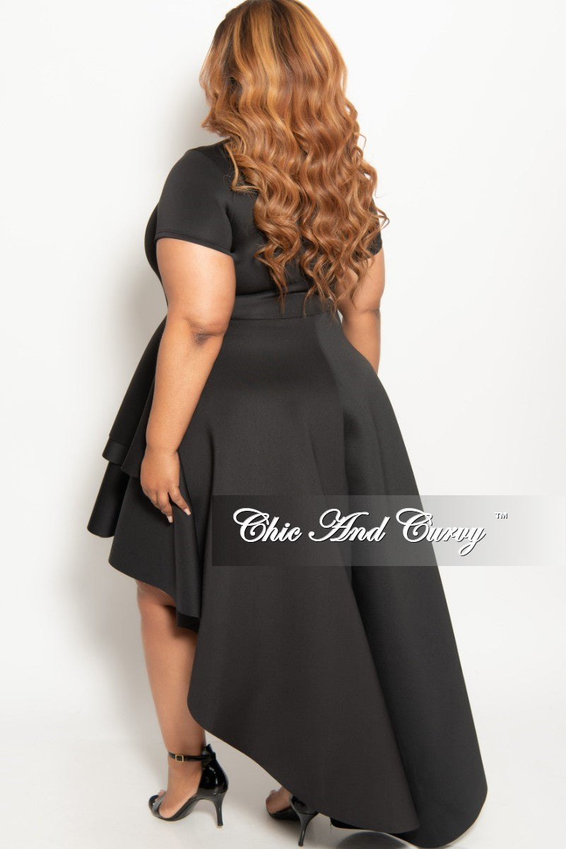 f63a98dd7a290 New Plus Size Short Sleeve Peplum High-Low Dress in Black – Chic And ...