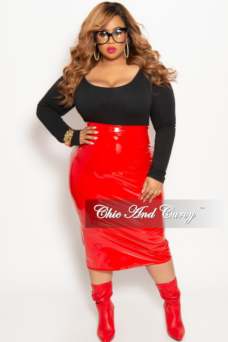 Final Sale Plus Size Patent-Leather Pencil Skirt with Gold ...