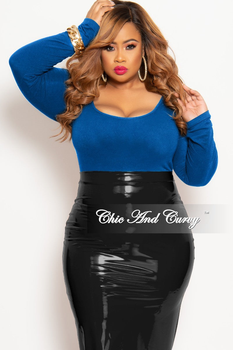 Final Sale Plus Size Long Sleeve Leotard in Royal Blue