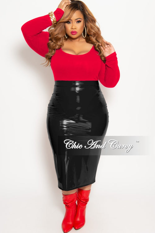7277215fac874 Final Sale Plus Size Long Sleeve Leotard in Red