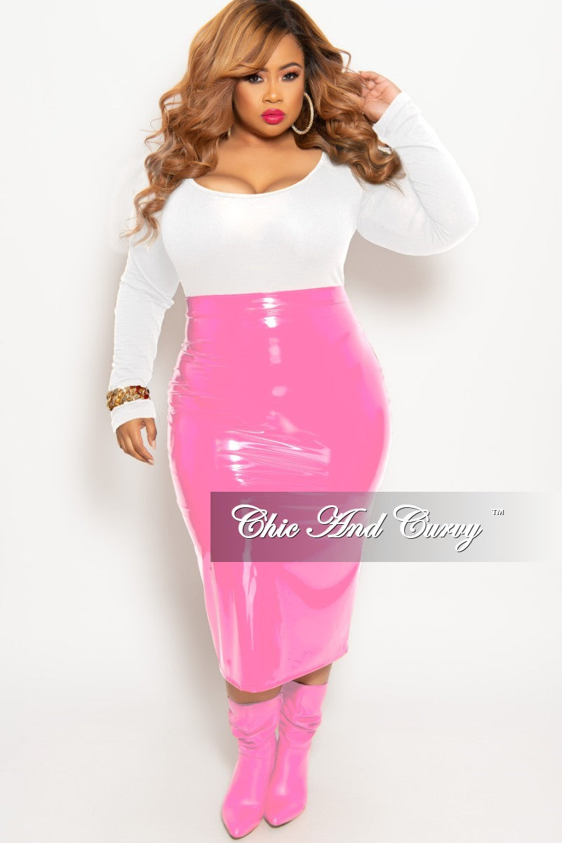 baff56035d Final Sale Plus Size Patent-Leather Pencil Skirt with Gold Back Zipper –  Chic And Curvy
