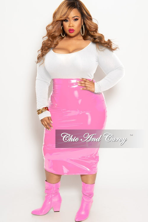 Final Sale Plus Size Patent-Leather Pencil Skirt with Gold Back Zipper and Bottom Slit in Pink