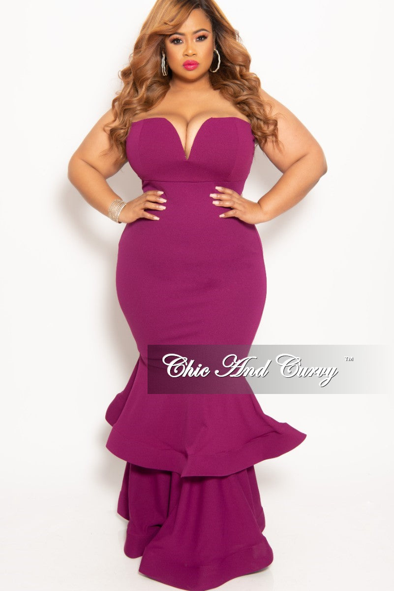 New Plus Size Sleeveless Deep V-Neck BodyCon Gown with Double Ruffle Bottom in Plum