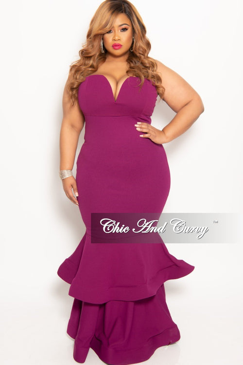 194c2708d38 New Plus Size Sleeveless Deep V-Neck BodyCon Gown with Double Ruffle Bottom  in Plum