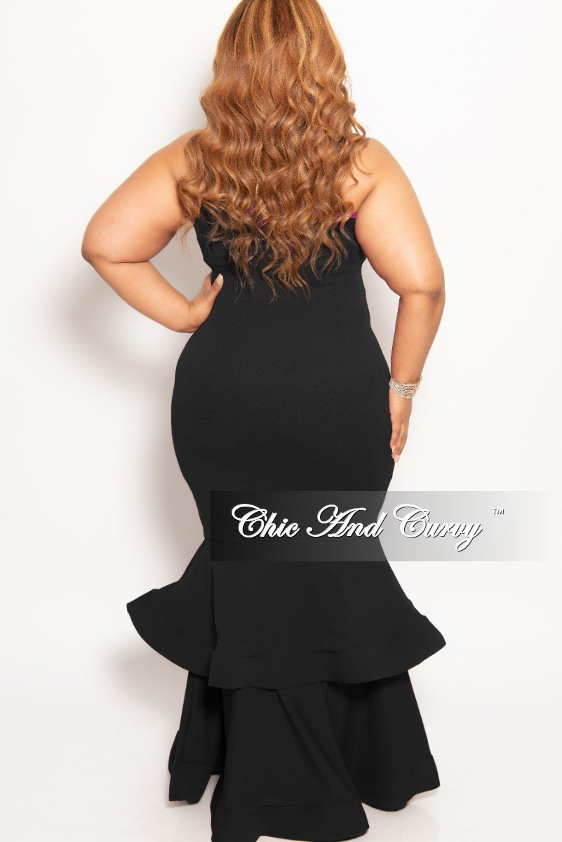 New Plus Size Sleeveless Deep V-Neck BodyCon Gown with Double Ruffle Bottom in Black