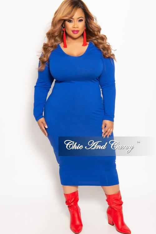 New Plus Size Long Sleeve BodyCon Midi Dress in Royal Blue