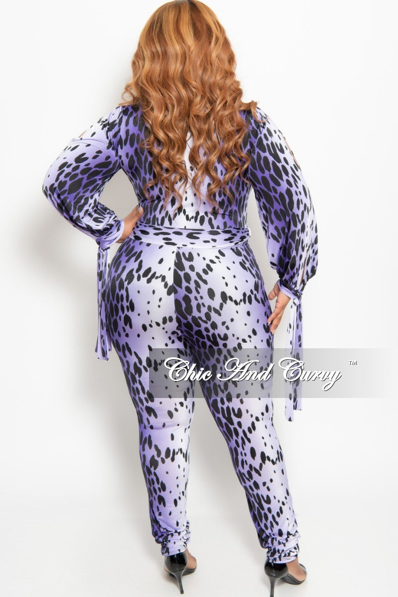 Final Sale Plus Size Long Sleeve Faux Wrap Jumpsuit with Slit Sleeves and Attached Tie in Purple Animal Print