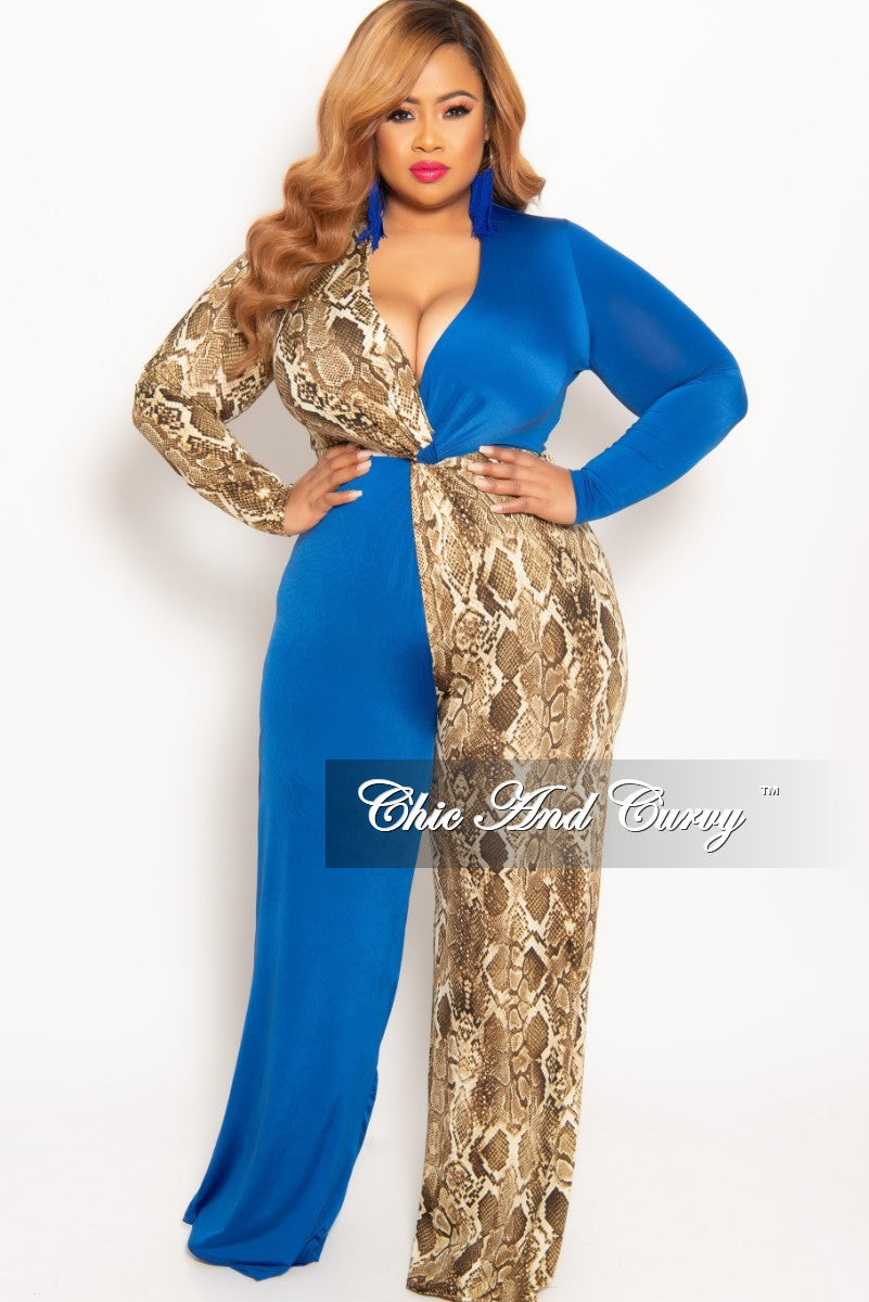7ec25f0872b7 New Plus Size Faux Wrap Color Block Jumpsuit in Royal and Snake Skin P –  Chic And Curvy