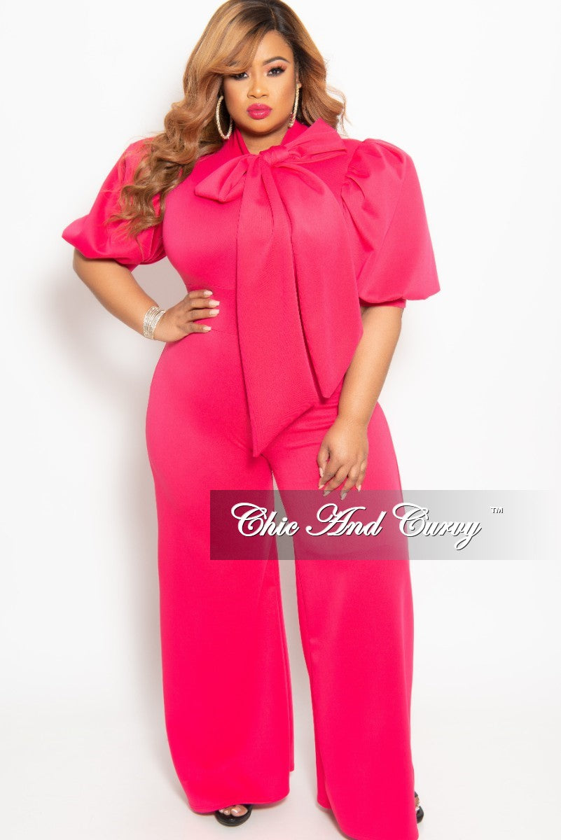 37cbd69e14e New Plus Size Puffy Sleeve Jumpsuit with Neck Tie with Back Zipper in – Chic  And Curvy