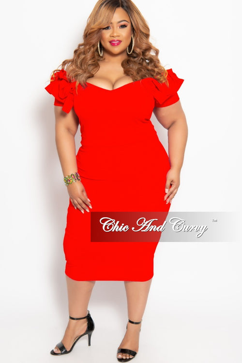 New Plus Size BodyCon Dress with Ruffle Sleeves and Back Gold Zipper in Red