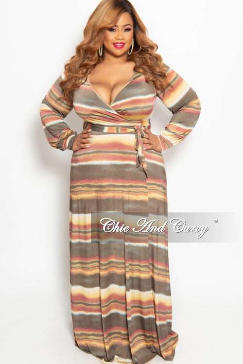 New Plus Size Long Wrap Dress with Tie in Taupe Multi Color Horizontal Stripe Print