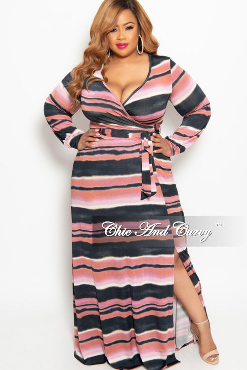 New Plus Size Long Wrap Dress with Tie in Fuchsia Multi Color Horizontal Stripe Print