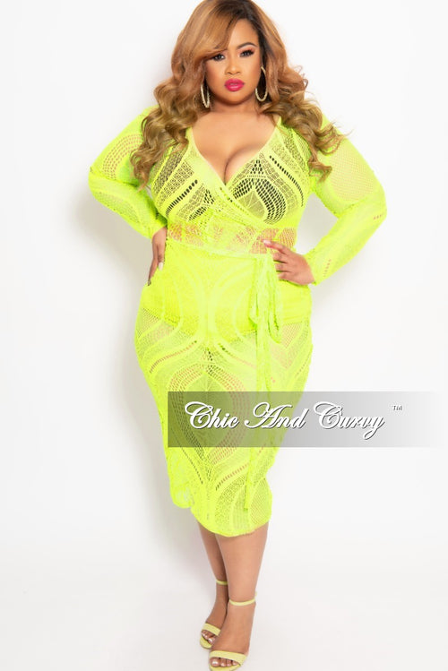 203da3b0855a Final Sale Plus Size Long Sleeve Faux Wrap Lace BodyCon Dress with Attached  Tie in Neon