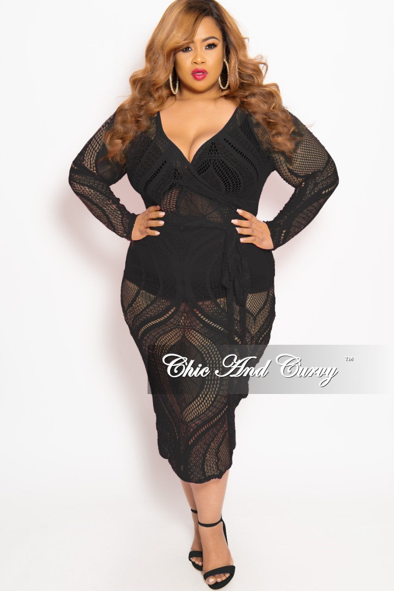 Final Sale Plus Size Long Sleeve Faux Wrap Lace BodyCon Dress with Attached Tie in Black