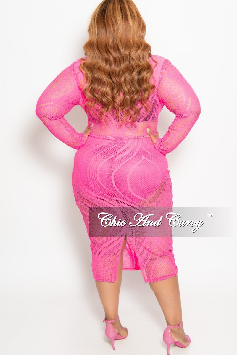 Final Sale Plus Size Long Sleeve Faux Wrap Lace BodyCon Dress with Attached Tie in Neon Pink