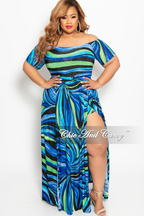 adb9a66cb1 New Plus Size Off The Shoulder Romper with Attached Long Skirt with Double  Slits in Royal