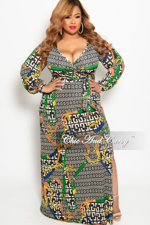 New Plus Size Long Sleeve Faux Wrap Long Dress with Attached Tie in Tan Black Green Rust and Royal Blue