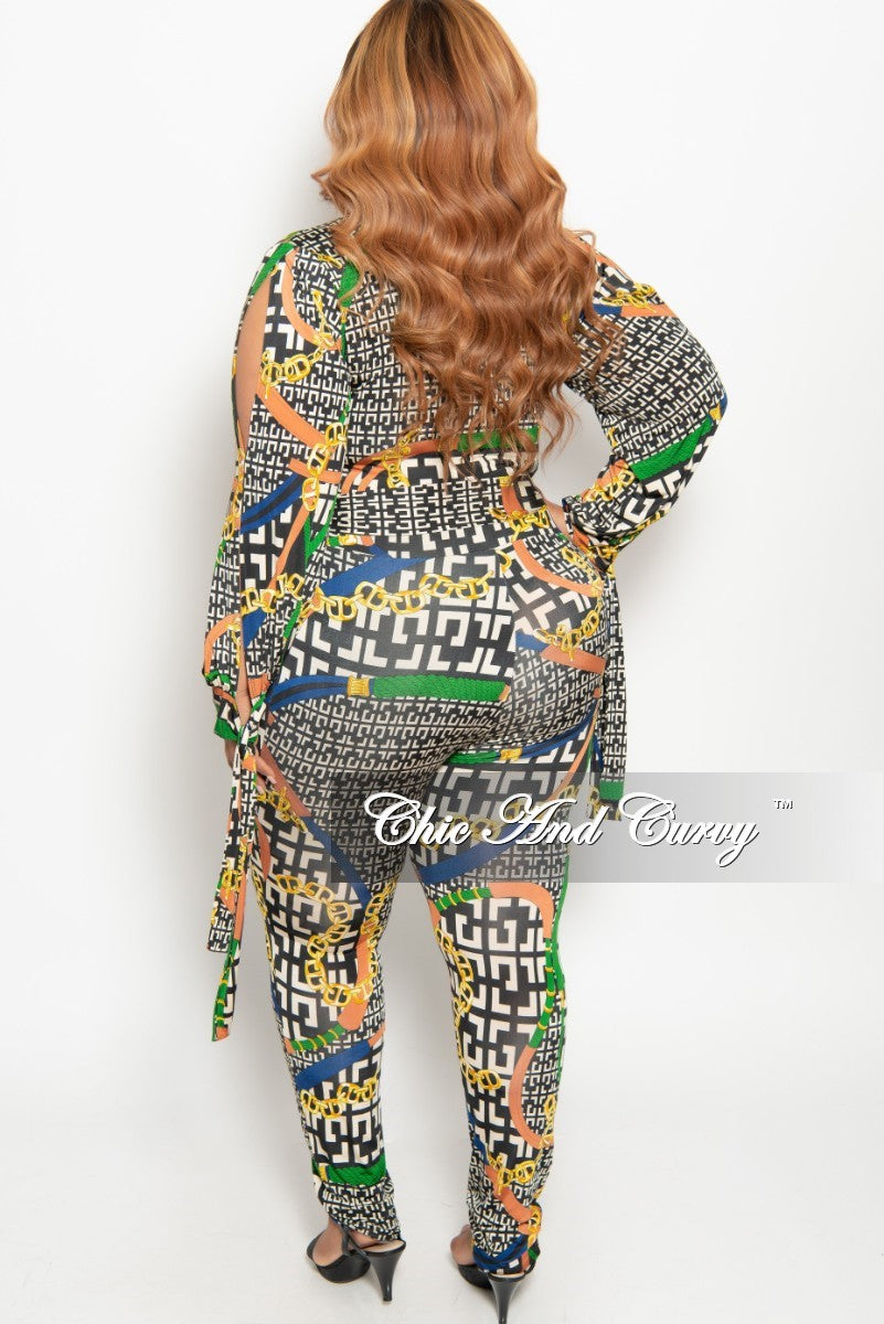 New Plus Size Long Sleeve Faux Wrap Jumpsuit with Slit Sleeves and Attached Tie in Tan Black Green Rust and Royal Blue