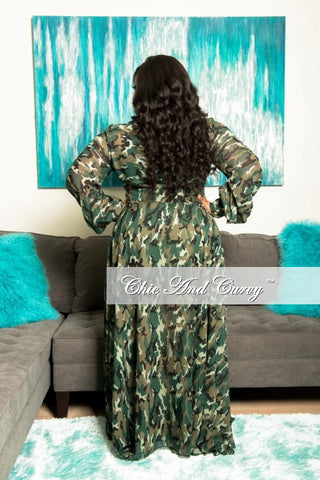New Plus Size Chiffon Dress in Camouflage Print