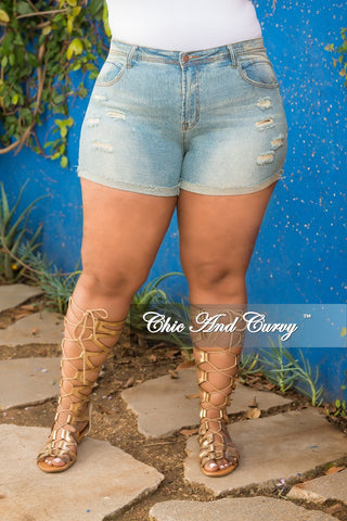 New Plus Size Denim Shorts in Light Blue