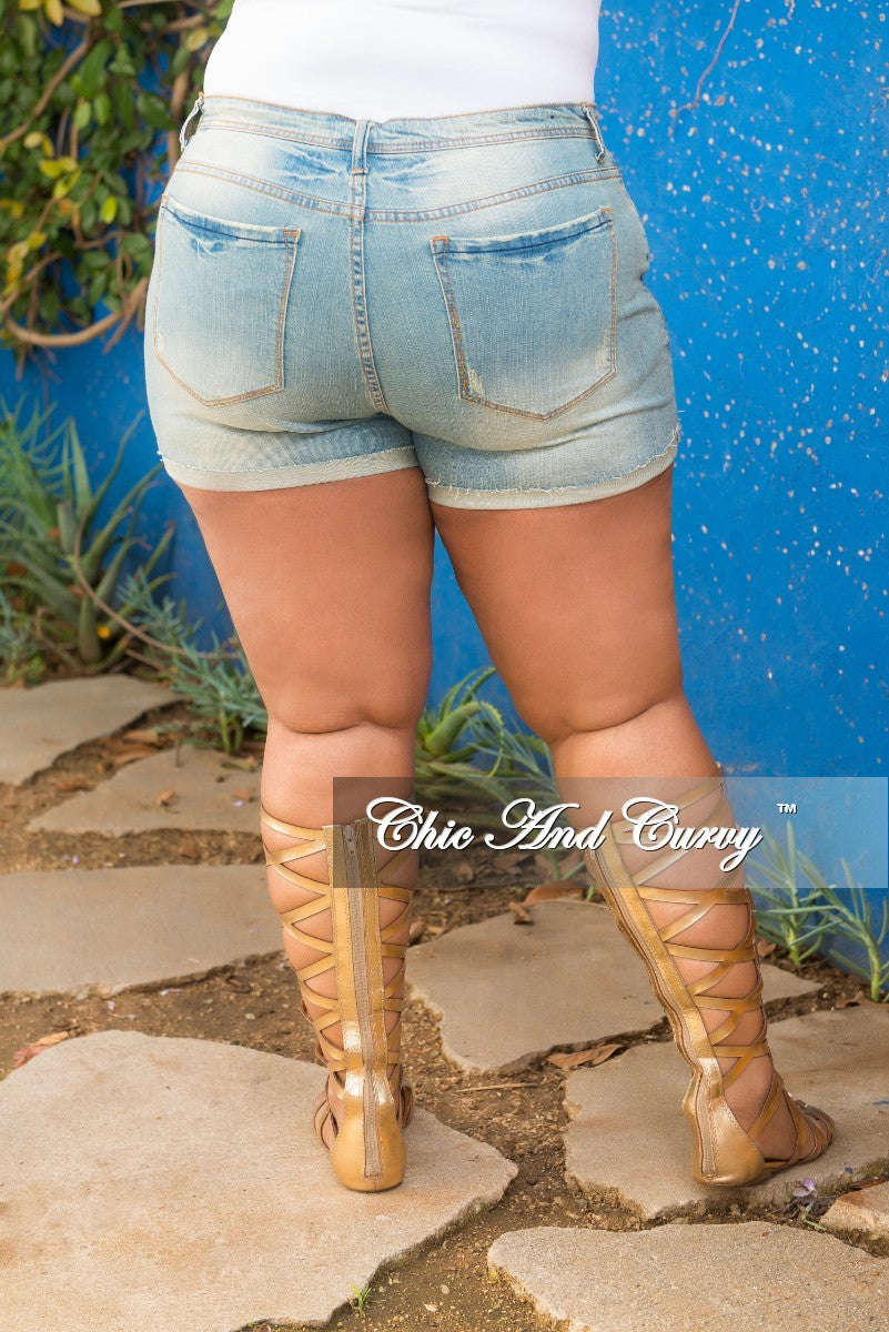 Final Sale Plus Size Shorts with Ripped Front in Light Denim