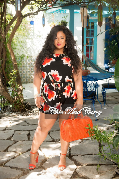 New Plus Size Romper in Black Floral Print