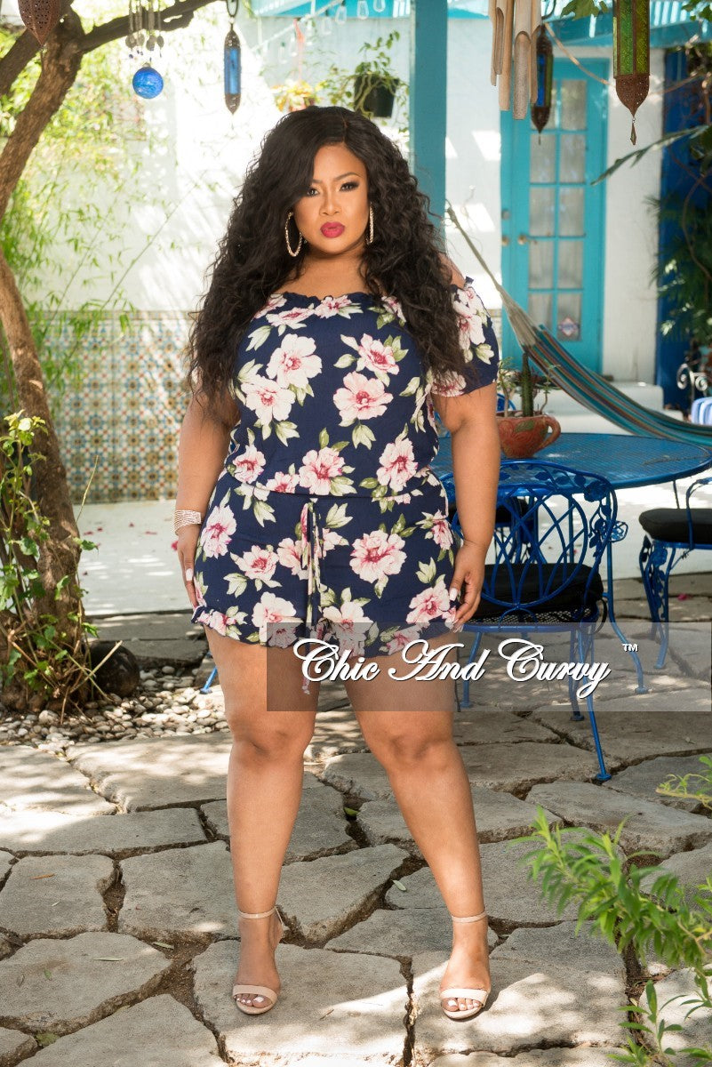 Final Sale Plus Size Romper in Navy Floral Print