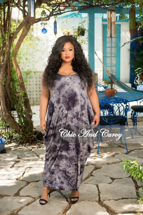 Final Sale Plus Size Long Pocket Dress with Spaghetti Straps in Navy and Grey Tie Dye Print