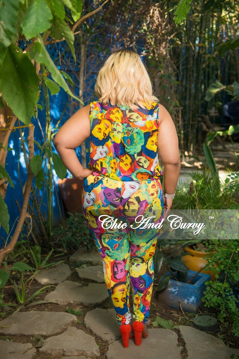 New Plus Size 2-Piece Faux Wrap Oversized Sleeveless Deep V Top and Pants Set in Light Multi Color Cartoon Print