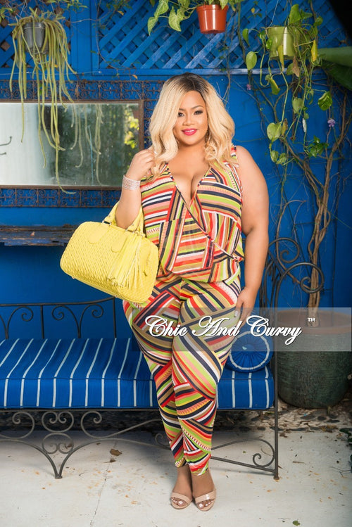 Final Sale Plus Size 2pc Faux Wrap Sleeveless Deep V Top and Pants in Colored Multi Direction Stripe Print