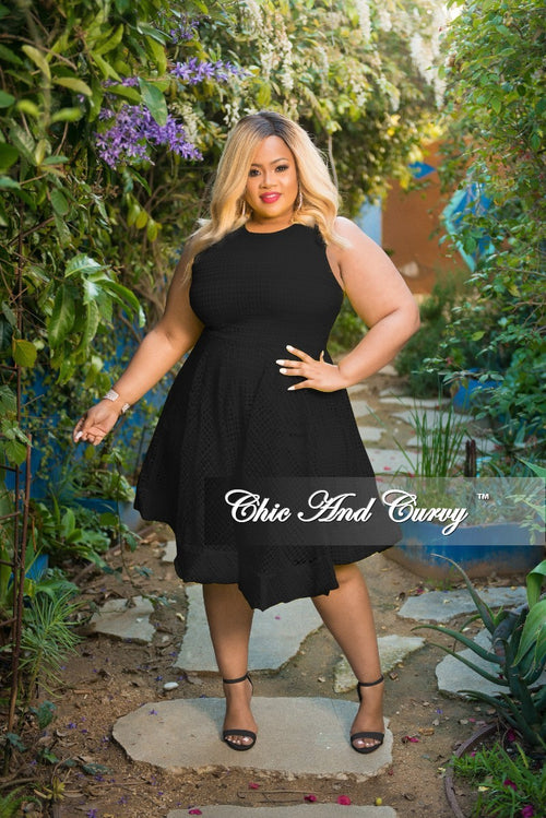 New Plus Size Sleeveless Net Fair Dress with Back Gold Zipper in Black
