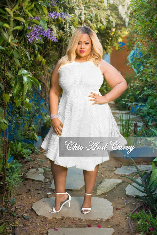 Final Sale Plus Size Sleeveless Net Fair Dress with Back Gold Zipper in White