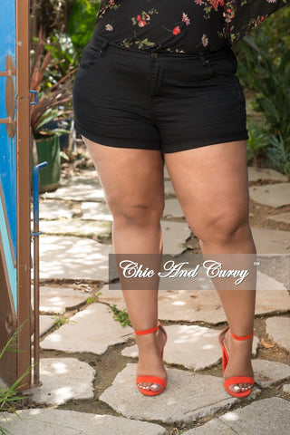 Final Sale Plus Size Bermuda Shorts with Lace-Up Sides in Medium Denim