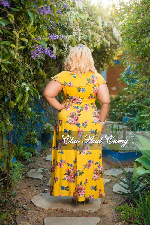 New Plus Size Sleeveless Ruffle Wrap Dress with Attached Tie in Mustard Floral Print