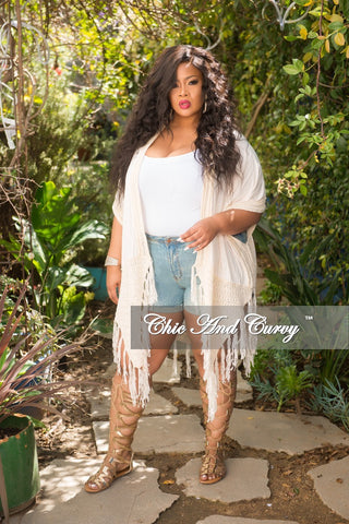Final Sale Plus Size Asymmetrical Faux Suede Fringe Mini Skirt in Tan