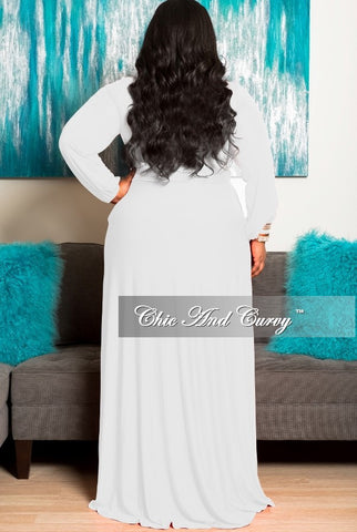 Final Sale Plus Size Long Dress with Keyhole in White