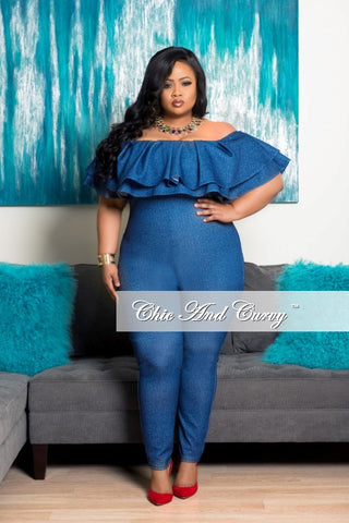 New Plus Size Off the Shoulder Ruffle Jumpsuit in Denim Print