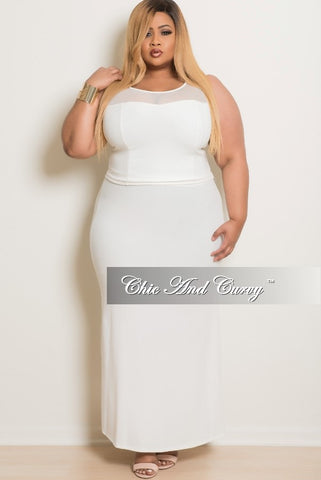Final Sale Plus Size 2 Piece Skirt Set in Off White