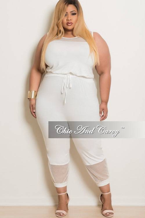 50% Off Sale - Final Sale Plus Size Cropped Sleeveless Jumpsuit with Mesh Cutouts in Off White
