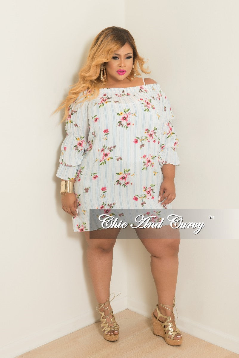 Final Sale Plus Size Floral Printed Off the Shoulder Stripe Dress in Light Blue and White