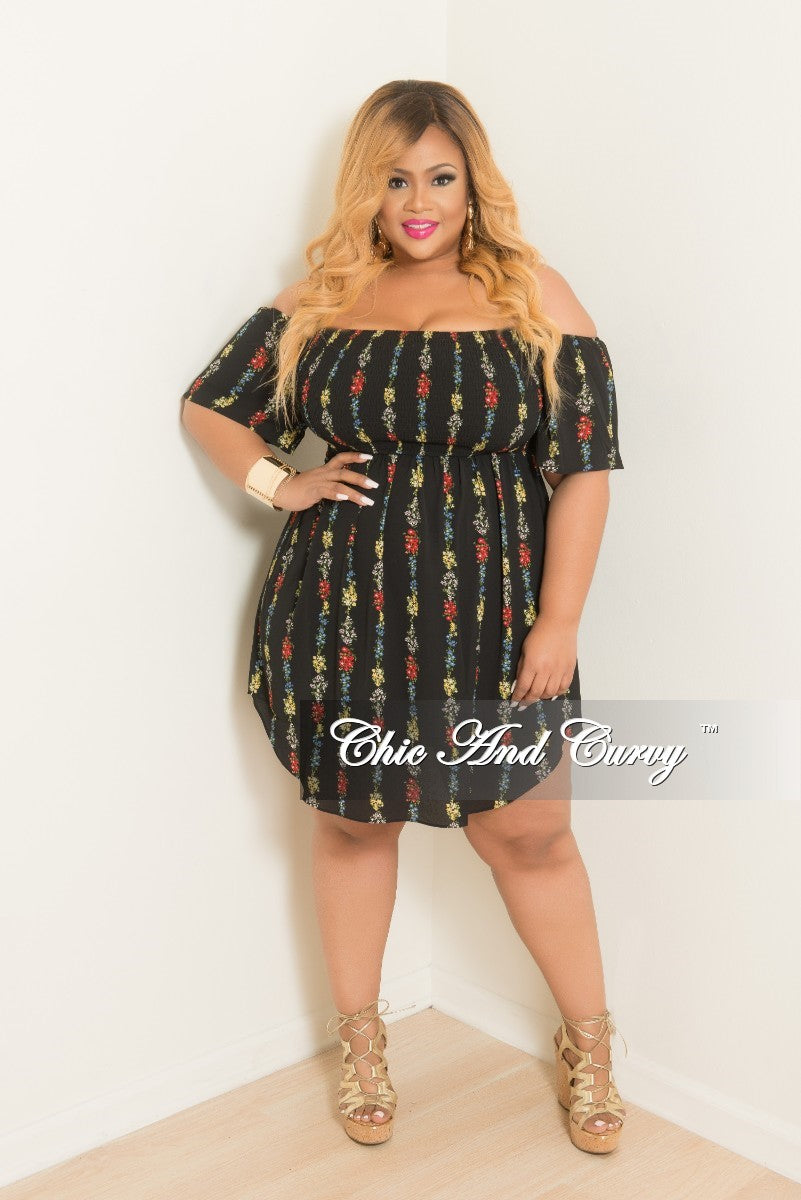 Final Sale Plus Size Off the Shoulder Dress in Black Floral Print