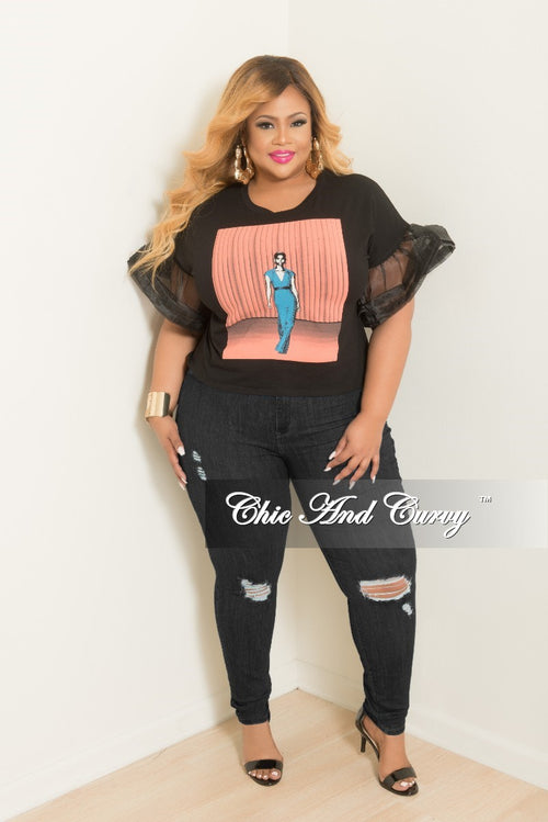 New Plus Size Fashion Model Top with Tulle Sleeves in Black