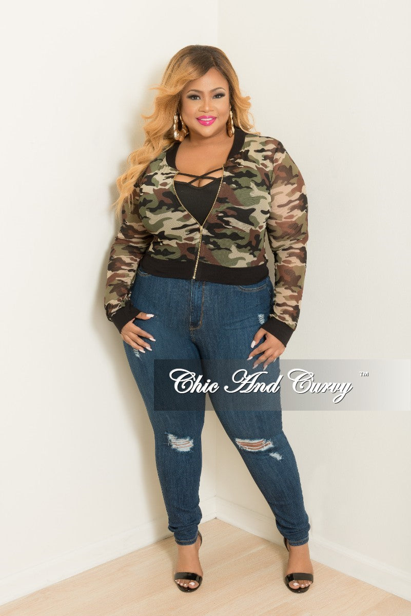 c748d7be0d1 Final Sale Plus Size Mesh Zip-Up Jacket in Camouflage Print – Chic And Curvy