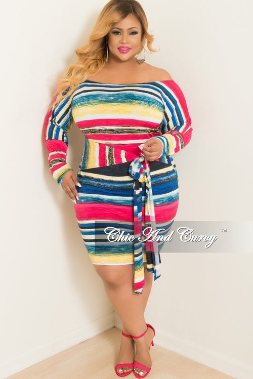 New Plus Size Off the Shoulder Striped BodyCon Dress with Attached Tie in Multi Colored Print