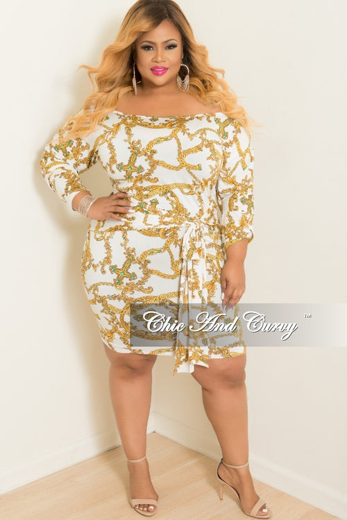 Final Sale Plus Size Off the Shoulder Chain Printed BodyCon Dress with Attached Tie in White and Gold