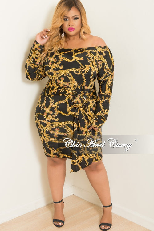 New Plus Size Off the Shoulder Chain Printed BodyCon Dress with Attached Tie in Black and Gold
